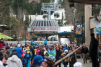 Visitors use the Blackcomb Gondola to access the Whistler Sliding Centre during the 2010 Olympic Winter Games in Whistler, BC Canada.