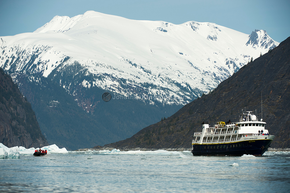 A small cruise ship near the Dawes Glacier, Endicott Arm, Alaska.