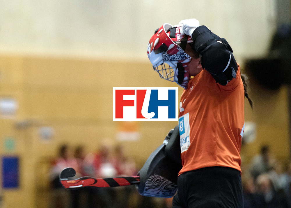 BERLIN - Indoor Hockey World Cup<br /> Switzerland - Poland<br /> foto: W&Auml;LTI Flurina (GK)<br /> WORLDSPORTPICS COPYRIGHT FRANK UIJLENBROEK