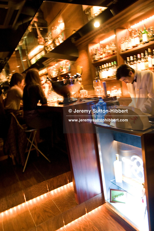 'Ginza-S' cocktail bar in the upmarket Ginza district of Tokyo, Japan, Friday 30th January 2009. The bar holds a selection of Scotch Malt Whisky Society bottlings.