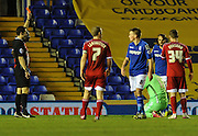 Middlesbrough goalkeeper Konstantopoulos is shown the red card for bringing down Demarai Gray during the Sky Bet Championship match between Birmingham City and Middlesbrough at St Andrews, Birmingham, England on 18 February 2015. Photo by Simon Kimber.