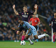 Raheem Sterling of Manchester City brought down by Lucas Digne of Barcelona during the Champions League Group C match at the Etihad Stadium, Manchester. Picture date: November 1st, 2016. Pic Simon Bellis/Sportimage