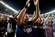 Paris Saint Germain players celebrate in front of fans during the UEFA Women's Champions League, quarter final football match, 2nd leg between Paris Saint-Germain and Bayern Munich on March 29, 2017 at Parc des Princes stadium in Paris, France - Photo Benjamin Cremel / ProSportsImages / DPPI