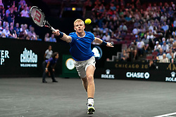 September 21, 2018 - Chicago, IL, U.S. - CHICAGO, IL - SEPTEMBER 21: Team Europe Kyle Edmund of Great Britain returns a shot against Team World Jack Sock of the United States during their Men's Singles match on day one of the 2018 Laver Cup at the United Center on September 21, 2018 in Chicago, Illinois (Photo by Robin Alam/Icon Sportswire) (Credit Image: © Robin Alam/Icon SMI via ZUMA Press)