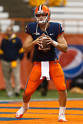 Oct 21, 2011; Syracuse NY, USA;  Syracuse Orange quarterback Ryan Nassib (12) warms up before the game against the West Virginia Mountaineers at the Carrier Dome.  Mandatory Credit: Jason O. Watson-US PRESSWIRE