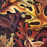 Rustic, warming tones of autumn oak leaves. This piece began the journey into abstracted nature! <br /> <br /> Original sold.   Print Pricing, see Flight C.