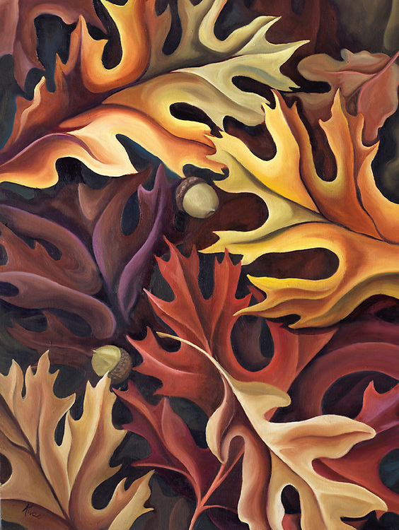 Rustic, warming tones of autumn oak leaves. This piece began the journey into abstracted nature! <br />