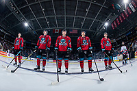 KELOWNA, CANADA - MARCH 16: Kelowna Rockets' starting line up against the Vancouver Giants  on March 16, 2019 at Prospera Place in Kelowna, British Columbia, Canada.  (Photo by Marissa Baecker/Shoot the Breeze)