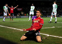 Manchester United's Ander Herrera celebrates scoring his side's second goal of the game during the Emirates FA Cup, fourth round match at Huish Park, Yeovil.