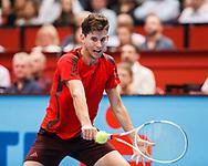 DOMINIC THIEM (AUT),Rueckhand,Aktion, action,Einzelbild, Halbkoerper,<br /> <br /> Tennis - ERSTE BANK OPEN 2017 - ATP 500 -  Stadthalle - Wien -  - Oesterreich  - 26 October 2017. <br /> © Juergen Hasenkopf