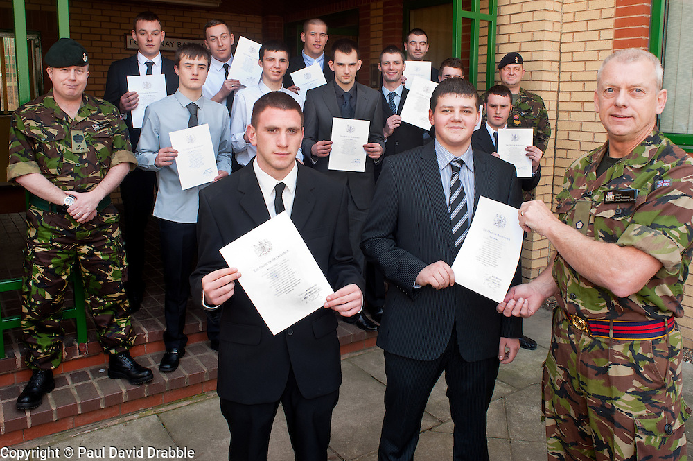Twelve young men from the Barnsley area took one of the first steps to becoming professional soldiers today (23 March). In a special ceremony watched by family and friends they took the Oath of Allegiance at Barnsley TA Centre before moving on to undergo basic training..Among the twelve were Michael Davies (left) and  Daniel Goodwin (right) with Major Keith Tomlinson. Their first taste of army life was through an Army Prep Course. Also taking the Oath were Keifer Thomas,  Aaron Sykes, Christopher Bennett, Neil Brown, Daniel Armitage, Dean Bentley, Ashley Lockwood, Hayden Wass, Simon Brigham and Ryan Chritan.23 March 2011.Images © Paul David Drabble