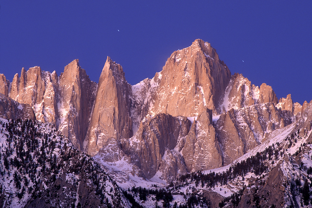 USA, California, Sequoia National Park, Morning sun lights Mount Whitney (14,498') and surrounding peaks