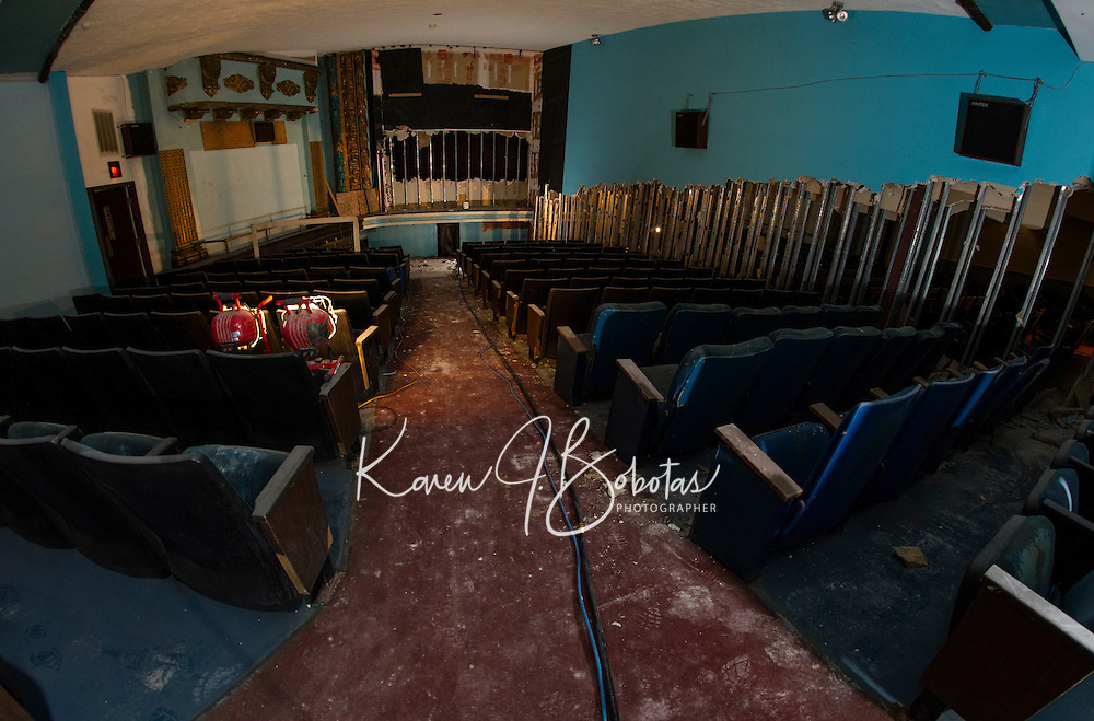 Renovation work done by Bonnette, Page and Stone at the Colonial Theater in downtown Laconia. First level theater area with middle partition wall still in tact.   ©2016 Karen Bobotas Photographer