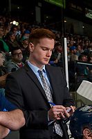 KELOWNA, CANADA - APRIL 25: Seattle Thunderbirds' assistant coach Tyler Also stands on the bench against the Kelowna Rockets on April 25, 2017 at Prospera Place in Kelowna, British Columbia, Canada.  (Photo by Marissa Baecker/Shoot the Breeze)  *** Local Caption ***