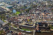 Nederland, Overijssel, Zwolle, 01-05-2013; historische binnenstad Zwolle met aan de Thorbeckegracht en Stadsmuur. Rechts complex met De Librije en Waanders In de Broeren.<br /> Historical inner city of Zwolle.<br /> luchtfoto (toeslag op standaardtarieven);<br /> aerial photo (additional fee required);<br /> copyright foto/photo Siebe Swart.