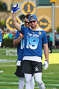 Jan 23, 2019; Kissimmee, FL, USA; Minnesota Vikings wide receiver Adam Thielen (19) acknowledges the crowd as his name is announced before the 2019 Pro Bowl Skills Challenge at ESPN Wide World of Sports Complex. (Steve Jacobson/Image of Sport)