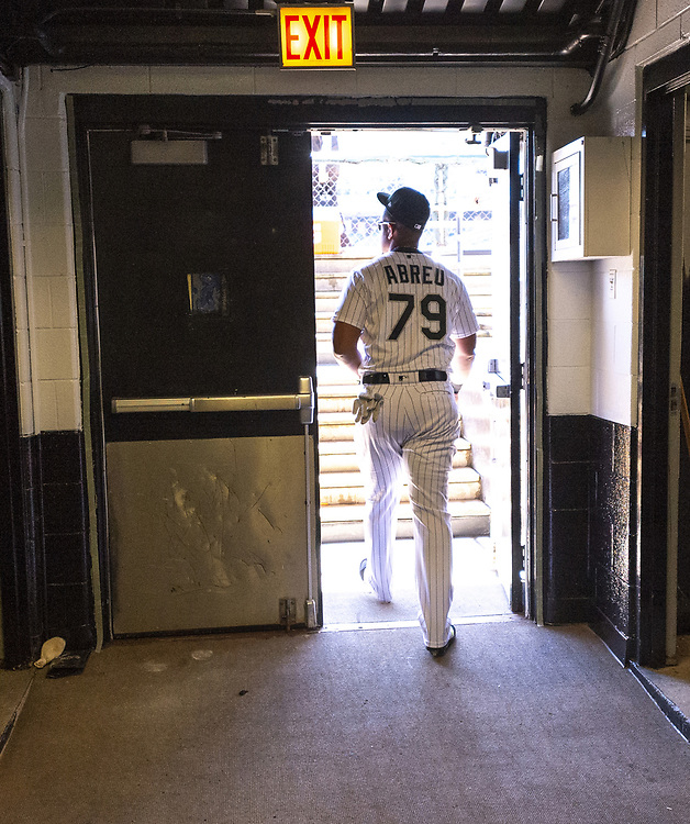 CHICAGO - APRIL 09:  Jose Abreu #79 of the Chicago White Sox enters the dugout prior to the game against the Tampa Bay Rays on April 9, 2019 at Guaranteed Rate Field in Chicago, Illinois.  (Photo by Ron Vesely)  Subject:   Jose Abreu