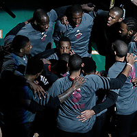 01 June 2012: The Miami Heat players are seen during the players introduction prior to the Boston Celtics 101-91 victory over the Miami Heat, in Game 3 of the Eastern Conference Finals playoff series, at the TD Banknorth Garden, Boston, Massachusetts, USA.