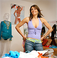 Elizabeth Hurley with her swimwear designs in her studio in South Kensington, London, UK. She is launching her designs soon and will be sold exclusively in Harrods and Saks in New York.