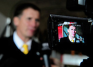 Southampton - Tuesday, September 30th, 2008: Manager Glenn Roeder of Norwich City talks to media after the Coca Cola Championship match at Southampton. (Pic by Daniel Hambury/Focus Images)