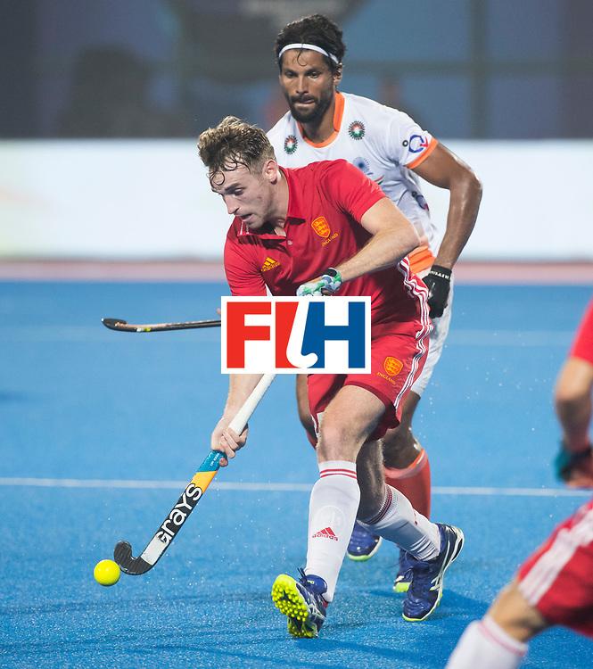 BHUBANESWAR - The Odisha Men's Hockey World League Final . Match ID 06 . India v England. Chris Griffiths (Eng) with Rupinder Pal Singh (Ind).     WORLDSPORTPICS COPYRIGHT  KOEN SUYK