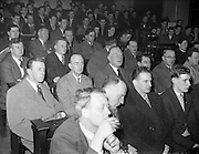 """10/03/1959<br /> 03/10/1959<br /> 10 March 1959<br /> C.C. Wakefield (Castrol) lecture. Members of the Institute of Motor Industry listening to a lecture on """"Lubricants for Road Transport"""" by Mr. S.E. Holmes, A.R.I.C., A.F.I.N.S.P., (C.C. Wakefield, London) at Bolton Street Technical School, Dublin."""