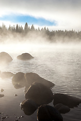 """Donner Lake Morning 12"" - Photograph of a foggy Donner Lake and boulders shot in the morning."