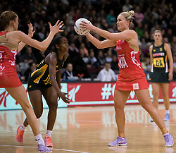 Englands Chelsea Pitman, centre, looks to pass the ball against South Africa in the Netball Quad Series netball match, ILT Stadium Southland, Invercargill, New Zealand, Sept. 3 2017.  Credit:SNPA / Adam Binns ** NO ARCHIVING**