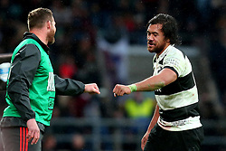 Steven Luatua of Barbarians gives a fist bump to a member of the New Zealand staff - Mandatory by-line: Robbie Stephenson/JMP - 04/11/2017 - RUGBY - Twickenham Stadium - London,  - Barbarians v All Blacks - Killik Cup