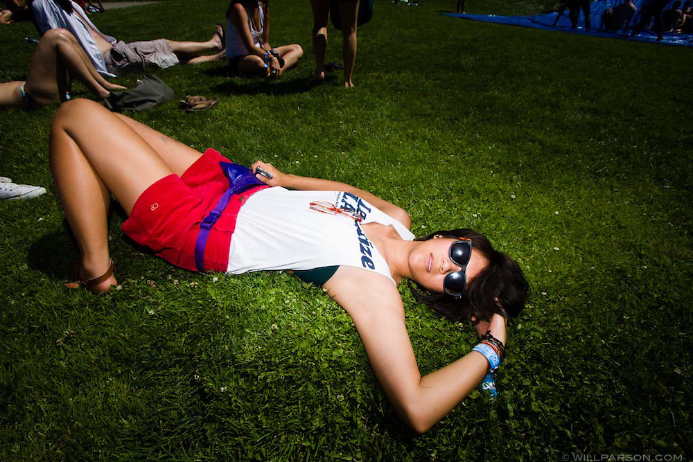 Candice Wu lies on Sun God Lawn on the UC San Diego campus during the Sun God Festival on May 16, 2008 in San Diego, California.