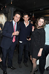Left to right, THOMAS VAN STRAUBENZEE, JAMES ROTHSCHILD and DAISY DANNATT at a party at the nightclub Public, King's Road, London to celebrate the launch of Public Verbier held on 17th November 2011.