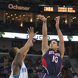 05 November 2008:  Atlanta Hawks guard Mike Bibby (10) shoots over New Orleans Hornets center Hilton Armstrong (12) during the first half of a NBA game between the New Orleans Hornets and the Atlanta Hawks at the New Orleans Arena in New Orleans, LA..