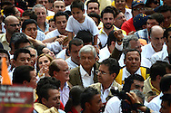 Mexico city - Presidential candidate Andres Manuel Lopez Obrador, of the leftist coalition MORENA, wave hands to the crowd during  a rally to close his campaign in Reforma boulevard. (PHOTO: MIGUEL JUAREZ LUGO)