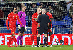 BOLTON, ENGLAND - Wednesday, February 4, 2015: Liverpool's Martin Skrtel reacts as referee Roger East awards Bolton Wanderers a penalty during the FA Cup 4th Round Replay match at the Reebok Stadium. (Pic by David Rawcliffe/Propaganda)