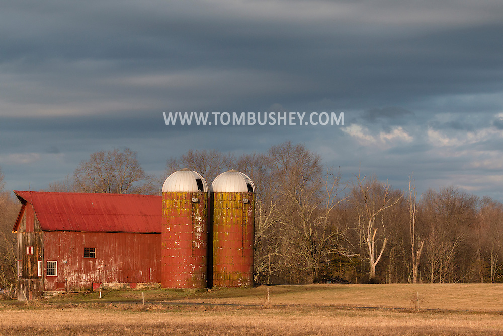 Wallkill, New York - A farm and barn in morning sunlight on April 11, 2015.