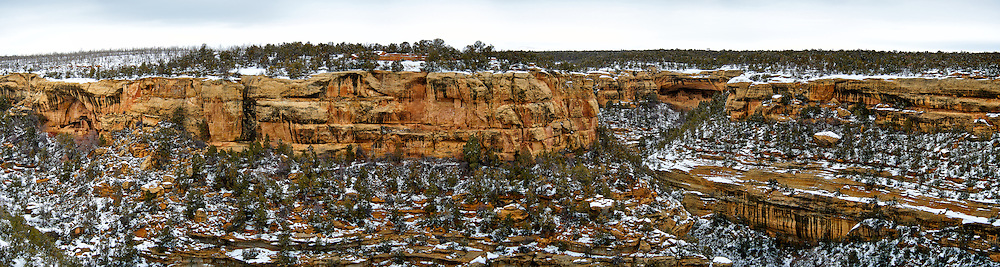 Mesa Verde National Park winter panorama. Composite of 8 images taken with a Nikon D3 camera and 80-400 mm VR lens (ISO 200, 80 mm, f/4.5, 1/200 sec). Raw images processed with Capture One Pro and the composite generated using AutoPano Giga Pro.