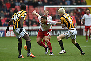 Sheffield United forward Che Adams under attack from Ryan McGivern of Port Vale  during the Sky Bet League 1 match between Sheffield Utd and Port Vale at Bramall Lane, Sheffield, England on 20 February 2016. Photo by Ian Lyall.