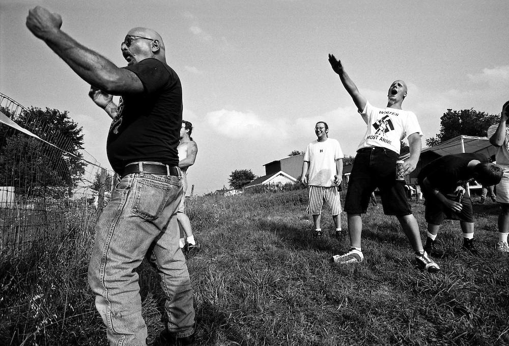 Members of variuos neo Nazi groups yell at neighbors who oppose them in Osceola, Indiana. (Photo by William B. Plowman)
