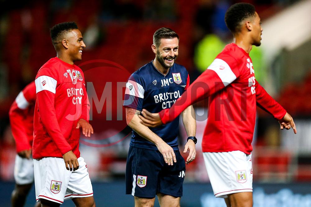 Bristol City Assistant Head Coach Jamie McAllister jokes with Niclas Eliasson and Zak Vyner of Bristol City - Rogan/JMP - 24/10/2017 - Ashton Gate Stadium - Bristol, England - Bristol City v Crystal Palace - Carabao Cup Round of 16.