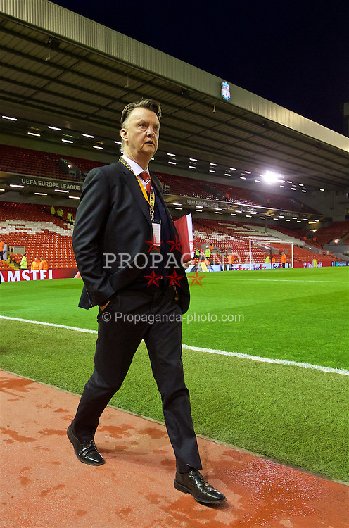 LIVERPOOL, ENGLAND - Thursday, March 10, 2016: Manchester United's manager Louis van Gaal arrives ahead of the UEFA Europa League Round of 16 1st Leg match against Liverpool at Anfield. (Pic by David Rawcliffe/Propaganda)
