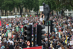 © Licensed to London News Pictures . 20/06/2015 . London , UK . Crowd in Parliament Square . Tens of thousands of people march from the Bank of England to Parliament , to protest economic austerity in Britain . Photo credit: Joel Goodman/LNP