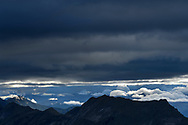 Cloud cover and the foothills of the Bernese Alps with the Augstmatthorn in the morning, Niederhorn, Interlaken, Berne, Switzerland
