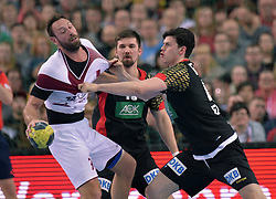 11.03.2016, Leipzig, GER, Handball Länderspiel, Deutschland vs Katar, Herren, im Bild Simon Ernst (GER #40) und Fabian Wiede (GER #10) gegen Bertrand Roine (QAT #7) // during the men's Handball international Friendlies between Germany and Qatar in Leipzig, Germany on 2016/03/11. EXPA Pictures © 2016, PhotoCredit: EXPA/ Eibner-Pressefoto/ Modla<br /> <br /> *****ATTENTION - OUT of GER*****