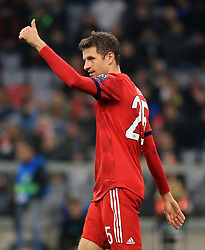 07.11.2018, Champions League, FC Bayern vs AEK Athen, Allianz Arena  Muenchen,  Fussball, Sport, im Bild:...Thomas Mueller (FCB) mit Daume hoch..DFL REGULATIONS PROHIBIT ANY USE OF PHOTOGRAPHS AS IMAGE SEQUENCES AND / OR QUASI VIDEO...Copyright: Philippe Ruiz..Tel: 089 745 82 22.Handy: 0177 29 39 408.e-Mail: philippe_ruiz@gmx.de. (Credit Image: © Philippe Ruiz/Xinhua via ZUMA Wire)