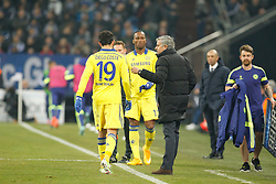 "25.11.2014, Veltins Arena, Gelsenkirchen, GER, UEFA Euro Qualifikation, Schalke 04 vs FC Chelsea, Gruppe G, im Bild Headcoach Jose ""the special one"" Mourinho (FC Chelsea) talking to Diego Costa (FC Chelsea #19) before the Substitution // during the UEFA Champions League group G match between Schalke 04 and Chelsea FC at the Veltins Arena in Gelsenkirchen, Germany on 2014/11/25. EXPA Pictures © 2014, PhotoCredit: EXPA/ Eibner-Pressefoto/ Schueler<br /> <br /> *****ATTENTION - OUT of GER*****"