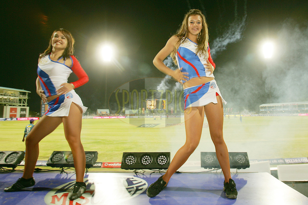 KIMBERLEY, SOUTH AFRICA - 11 May 2009. Royal Challengers dancing girls during the  IPL Season 2 match between the Rajasthan Royals and the Deccan Chargers held at The De Beers Diamond Oval in Kimberley. South Africa..