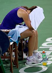 Jelena Jankovic of Serbia retires with an injury in her match  against Anastasiya Yakimova of Belarus  at 2nd Round of Singles at Banka Koper Slovenia Open WTA Tour tennis tournament, on July 22, 2010 in Portoroz / Portorose, Slovenia. (Photo by Vid Ponikvar / Sportida)