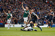 Ross County Midfielder Michael Gardyne on the attack to score first goal during the Scottish League Cup Final match between Hibernian and Ross County at Hampden Park, Glasgow, United Kingdom on 13 March 2016. Photo by Craig McAllister.