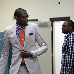 Jun 14, 2012; Oklahoma City, OK, USA;  Oklahoma City Thunder small forward Kevin Durant (35) arrives before game two in the 2012 NBA Finals at Chesapeake Energy Arena. Mandatory Credit: Derick E. Hingle-US PRESSWIRE