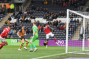 Bristol City striker Famara Diedhiou (9) missed shot at goal during the EFL Sky Bet Championship match between Hull City and Bristol City at the KCOM Stadium, Kingston upon Hull, England on 5 May 2019.